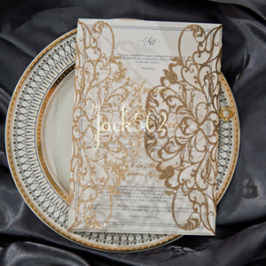 Wholesale laser cut wedding invitation pockets for sale - Group buy Gold Glitter Flower design Laser Cut Wedding Invitations Pocket Invitation Cut Shimmer Laser Cutting Wedding Thankyou Cards Invited Freeship