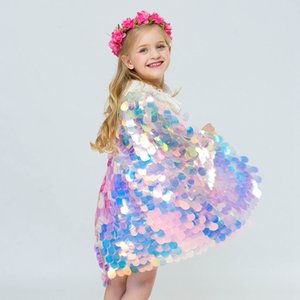 Wholesale Mermaid Sequin Cape Cosplay Baby Girls Glittering Princess Cloak Children kids Christmas Costume Clothing Party supplies LJJA3665