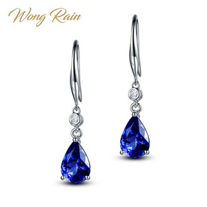 Wholesale Wong Rain Sterling Silver Royal Blue Sapphire Gemstone White Gold Drop Dangle Hook Earrings Fine Jewelry Gift