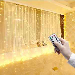 Wholesale table fairy lights resale online - Romantic Wedding stage backdrops curtain with remote control light party decorative lights birthday baby shower dessert table skirts sash