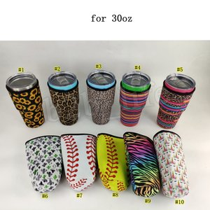 Neoprene Water Bottle Cover Insulated Sleeve Bag Case Pouch for 30oz Tumbler Cup with Pattern Leopard Rainbow Sunflower Mermaid MMA3091-5