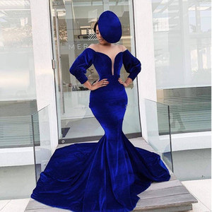 Wholesale Hot Sale Blue Mermaid Long Sleeves Evening Dresses Sheer Plunging Neck Prom Gowns Sweep Train Velvet Plus Size Formal Dress