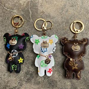 Bear Key Chain Accessories Fashion Rhinestone Key Ring PU Leather Bear Pattern Car Keychain Jewelry Bag Charm Animal Keyring Holder 6 Colors