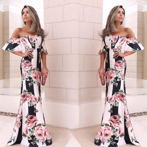 2019 Elegant Rose Flora Printed Summer Party Dresses Mermaid Off Shoulder Long Women Occasion Gowns Summer Holiday wears WY2487 on Sale
