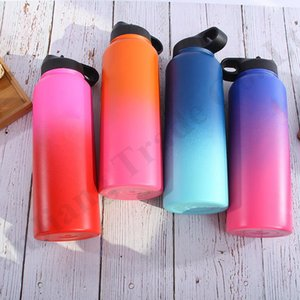 Wholesale 24 Color Hydro Mugs Vacuum Insulated Flask Bottle Stainless Steel Water Bottles oz oz Wide Mouth Gradient Vacuum Sport Big Cups LA110602
