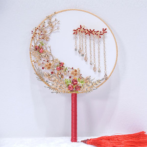 Wholesale Chinese Marriage Bridal Bouquet Wedding Classical Chinese Fan Wedding Party Royal Ball Round Fan Piece DHL