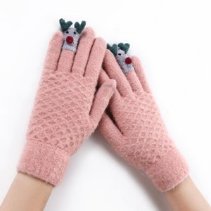 Wholesale Cute Animal Kids Winter Knitted Touch Screen Gloves Snow Running Warm Mittens for Girls Ladies Super Warm Gloves