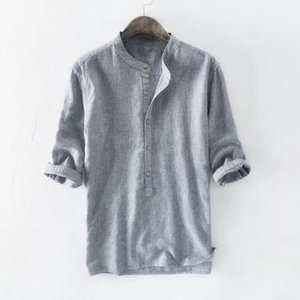 Wholesale collars for shirts resale online - 2020 DA JAUNA Summer And Spring Cotton Fashion Striped Shirts Stand Collar Button Up Shirt For Men Plus Size Shirts XL
