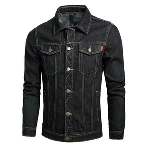 Wholesale Mens Coat Autumn Winter Casual Long Sleeve Turn down Collar Solid Denim Jacket Coat Men s Button warm outwear Jacket