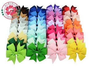 Wholesale 40 Colors Kids Hair Bows Bloom Pin for Kids Girls Children Hair Accessories Baby Hairbows with Clips Flower Hair Clip
