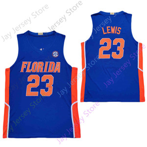 florida gators basketball großhandel-2020 New College NCAA Florida Gators Statistiken Jerseys Scottie Lewis Basketball Jersey Blau Größe Jugend Erwachsene