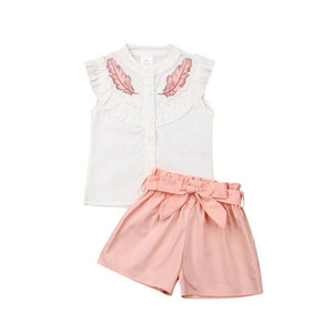 Wholesale childs clothes resale online - Cute Girls Leaf Printed Tracksuit Childs Sleeveless Lotus Leaf Collar T shirts shorts with Bow Belt Outfits Clothing Sets Cloth E3301
