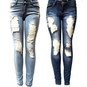 Women's Skinny Hole Ripped Jeans New Fashion Women Baggar Pants Heigh Quality Boyfriend Denim Biker Jeans Female Pencil Pants