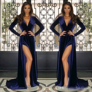 Wholesale Sexy Navy Blue Velvet Split Evening Dresses Long Sleeves Sheath Pluning V Neck Party Gowns Prom Dresses 2019 Cheap