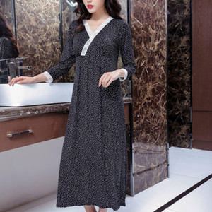 Wholesale 2019 Woman Night Sleepwear Spring and Autumn Nightgown Modal Sleep Dress Lace Elegant Long Korean Princess Sexy Sleeping Dress