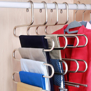 3PCS Hanger Multilayer storage rack wardrobe 5-layer Pants Rack Shelf Stainless Steel S-Type Tools Belt Clothes Coat T200415