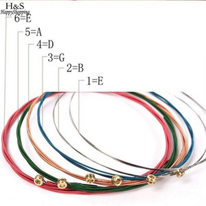 Wholesale 6 Multi Colored Acoustic Guitar String Copper Alloy Guitar Strings For Guitarra Bass Parts Accessories
