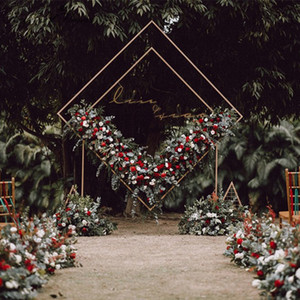 Wholesale Wedding arch wrought iron square quadrilateral diamond shelf geometrical artificial flower stand party backdrop decor frame arch
