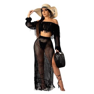 Wholesale Black Liooil Off Shoulder Hot Sale Summer New Sexy Fashion Grid Tassel Hollow Out Mesh Piece Suit Long Skirt Female Outfits Matching Sets