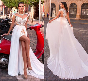 Wholesale 2019 Amazing Designer Country Wedding Dresses Bridal Gown Middle Slit Chiffon Cap Short Sleeves Embroidery Hollow Back Wedding Dress