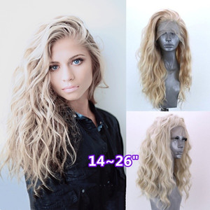 Wholesale Natural Soft Woman Blonde Long Wavy Curly Wigs Glueless Synthetic Lace Front Wigs Free Parting Heat Resistant Fiber Hair for Party Wig