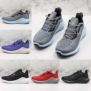Wholesale Alphabounce s MD Foamed Running Shoes Alpha s Rubber Outsole Light Weight Black Grey White Designer Shoe Sports Mens Trainer