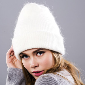 Wholesale Beanies Knitting Rabbit Wool Fur Hat Female Real Fur Skullies Caps Gorros Solid Color Women Winter Hats tbsr498