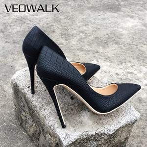 Wholesale Veowalk Brand Italy Style Women Classic Stiletto High Heels Ladies Sexy Sanke Patern Pointed Toe Pumps Comfort Dress Shoes Black