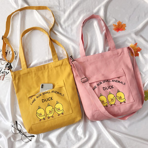 Wholesale Hazy Beauty Duck Pattern Girls Canvas Cloth Bag Lovely Cartoon Single Shoulder Shopping Bag Woman Yellow Pink INS Hot Book Totes