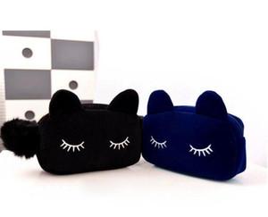 9pcs set Cat Makeup handbag lady bag pocket change purse nifty cat big cosmetic bag 4 Colors 19*5*12cm