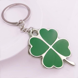 Wholesale Fashion Green Leaf Keychain Creative Beautiful Four Leaf Clover Metal Lucky Keyring Cute Portable Small Key Holder LJJ_TA1145