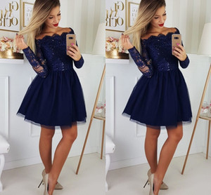 Fashion Navy Short Off the shoulder Party Prom Homecoming Dresses with Long Sleeves Lace Sequins Applique Tulle Cocktail Graduation Dress on Sale
