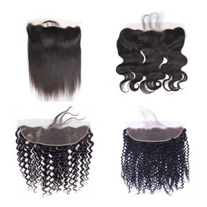 Wholesale Brazilian Human Hair Lace Frontal Closure With Baby Hair Body Deep Wave Kinky Curly Lace Frotnal Closure Hair Extensions Natural Color