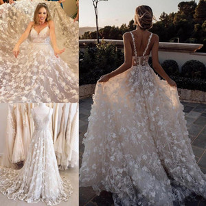 Wholesale 3D Floral Appliqued Berta Wedding Dresses Sexy Spaghetti V Neck Lace Bridal Gowns Plus Size Sweep Train Beach Garden Wedding Dress