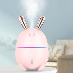 Wholesale 300ml Cute Rabbit Humidifier Ultrasonic Cool Mist USB Aroma Diffuser For Office Pregnant Baby Room Air Humidificador Light Lamp