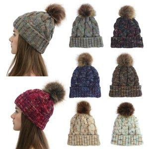 Wholesale Women Winter Warm hat Beanie Cute Faux Fur Pom Pom Ball knitted cap outdoor female casual ski caps
