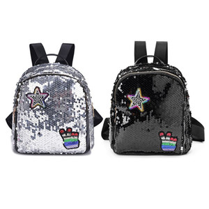 Wholesale THINKTHENDO Fashion Girls Shining Glitter Sequins Backpack With Cute Patches Casual School Backpack