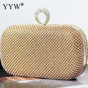Wholesale YYW Gold Rhinestone Finger Ring Evening Bags Diamonds Wedding Handbags Women Day Clutch Mini Purse Bag With Chain Clutch Female