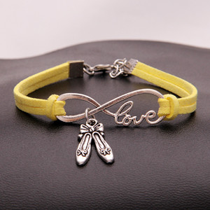 Handmade Yellow Leather Suede Bracelet & Bangles For Woman Man Zinc Alloy Part Infinity Love Dance Shoes Charm Bohemian Elastic Rope Jewelry