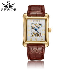 Wholesale SEWOR Mechanical Hand Wind Men Watch Brown Leather Bracelet Rectangle Luxury Man Watches Skeleton Clock Wristwatch Montre Homme