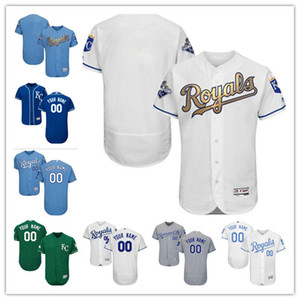 Wholesale custom Men's women youth Majestic KC Royas Jersey #00 Any Your name and your number Home Blue Grey White Kids Girls Baseball Jerseys