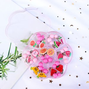 Candy Color Fruit Shape Cute Children's Baby Girl Earrings kids Ear Clip no Pierced Party Lovely Jewelry Gift 7 Pairs Mix In Box