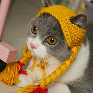 Wholesale The Little Girl Pigtail Wig Cap Hat Cap Cat Pet Costume Wang Meow Handmade Headwear Funny Cat Dog Knitted Hat Y19061901