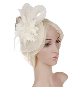 Wholesale Fashion Black White Red Beige Birdcage Bridal Flower Feathers Glamorous Bride Wedding Hats Face Veils Wedding Accessories