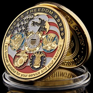 Wholesale USA Navy USAF USMC Army Coast Guard American Free Eagle Totem Gold Military Medal Challenge Coin Collection metal crafts