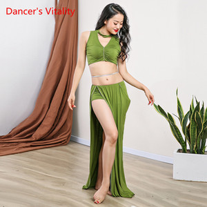 Wholesale New Belly Dance Practice Clothes Modal Oriental Dance Competition Suit Sexy Top Spilt Long Skirt Free Delivery