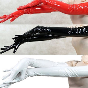 Wholesale Sexy Women s Long Gloves Five Fingers PVC Gloves Wet Look Opera Length Black Red White Faux Leather Latex Fetish Gothic Gloves SH190921