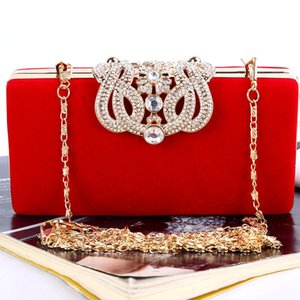 Europe and the United States big red evening bag handmade high-end evening dress bride wedding banquet bridesmaid bag