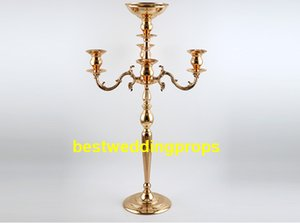 Wholesale wedding decorative candelabra for sale - Group buy New style Decorative Metal Candelabra Wedding Table Candelabra Centrepiece With Flower Bowl Golden Candelabra decor725