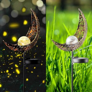 Wholesale 2019 Garden Solar Light Outdoor Decorative Moon Decor Crackle Glass Ball Metal Garden Stake Light for Pathway Lawn Patio Yard